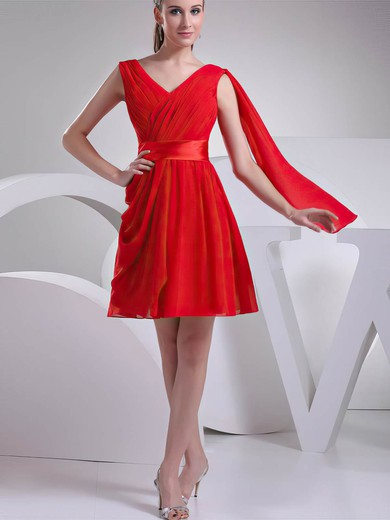 V-neck A-line Short/Mini Chiffon Ruffles Bridesmaid Dresses #DOB02041451