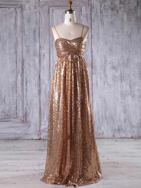 Sequined Empire Sweetheart Floor-length with Ruffles Bridesmaid Dresses #DOB01013218