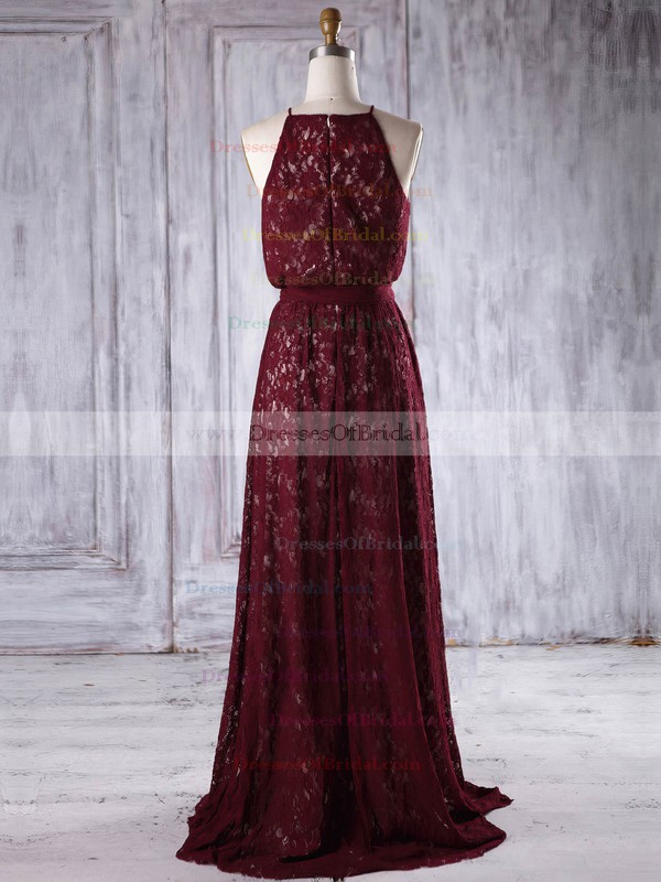 Lace A-line Scoop Neck Floor-length with Sashes / Ribbons Bridesmaid Dresses #DOB01013219