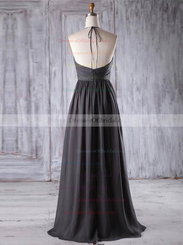 Chiffon A-line Halter Floor-length with Ruffles Bridesmaid Dresses #DOB01013221