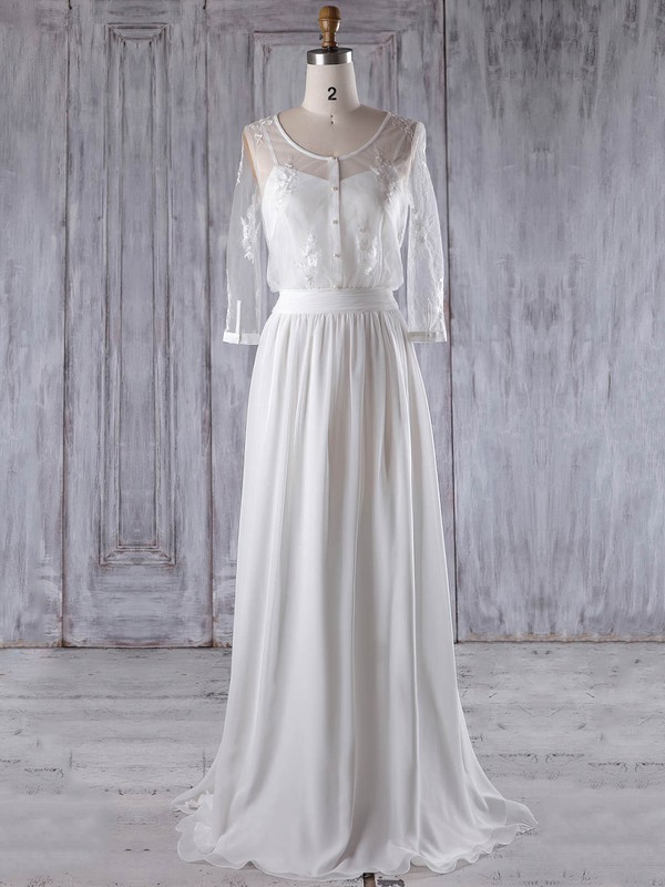 Chiffon Tulle A-line Scoop Neck Floor-length with Appliques Lace Bridesmaid Dresses #DOB01013222