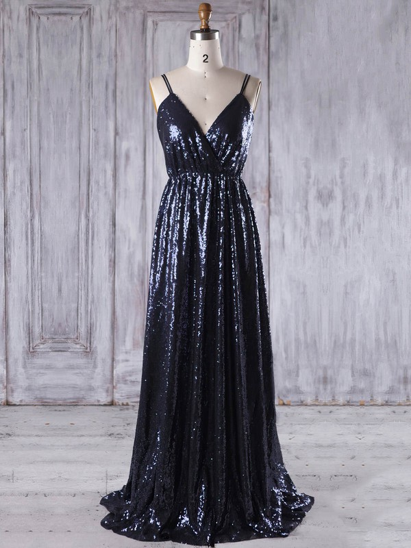 Sequined A-line V-neck Sweep Train with Embroidered Bridesmaid Dresses #DOB01013223