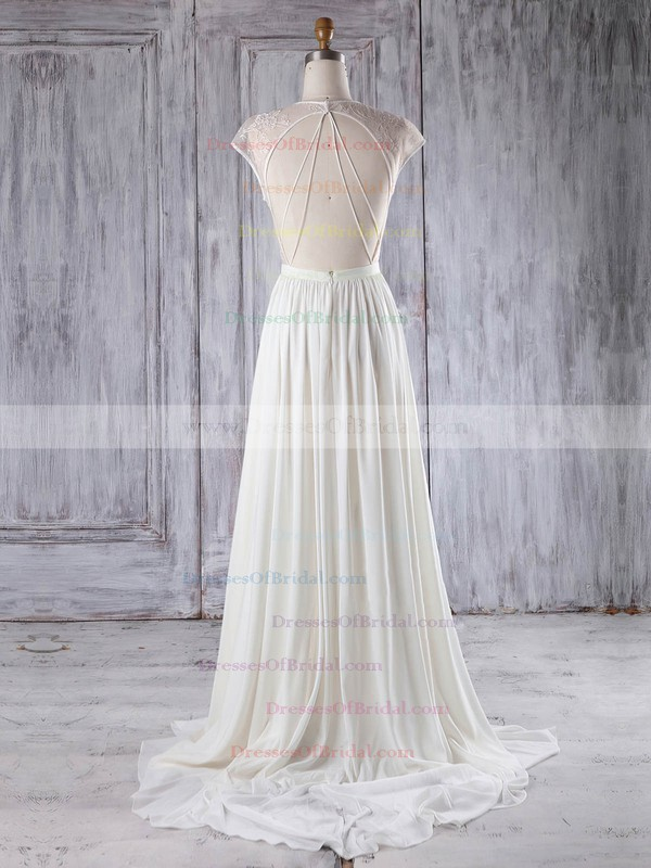 Chiffon Tulle A-line Scoop Neck Sweep Train with Appliques Lace Bridesmaid Dresses #DOB01013224
