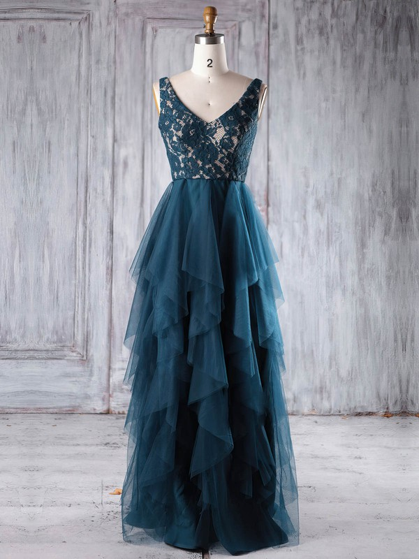 Lace Tulle A-line V-neck Floor-length with Tiered Bridesmaid Dresses #DOB01013225
