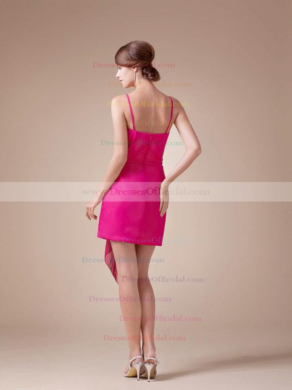 Spaghetti Straps Sheath/Column Short/Mini Chiffon Ruched Bridesmaid Dresses #DOB02041608
