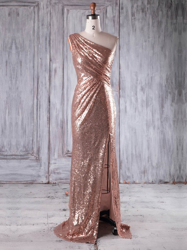Sequined Sheath/Column One Shoulder Sweep Train with Split Front Bridesmaid Dresses #DOB01013226