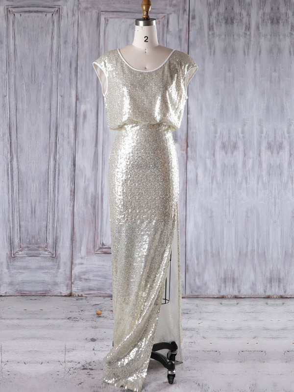 Sequined Sheath/Column Scoop Neck Floor-length with Split Front Bridesmaid Dresses #DOB01013228