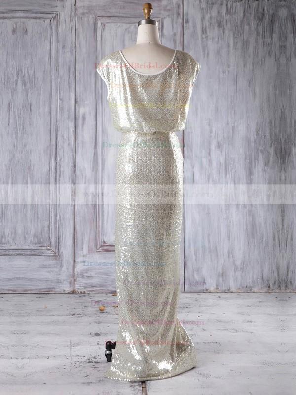 Sequined Sheath/Column Scoop Neck Floor-length with Split Front Bridesmaid Dresses #DOB01013228
