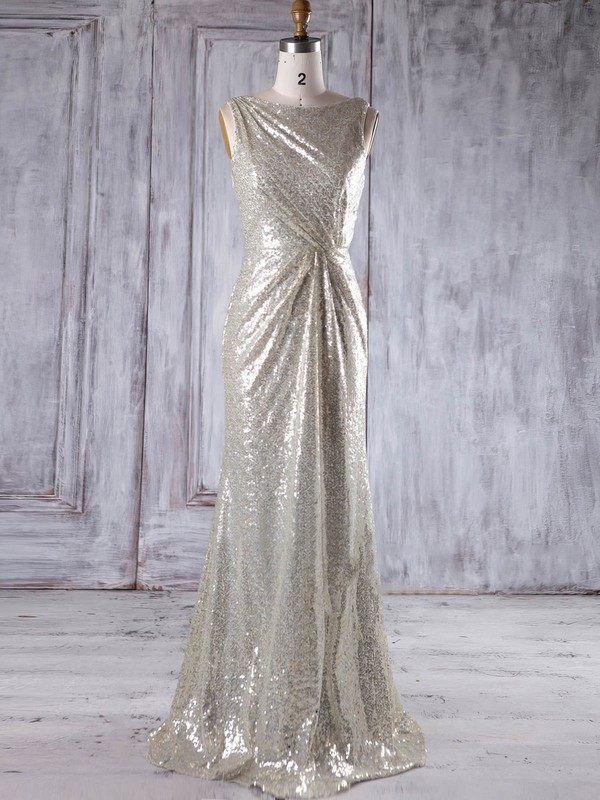 Sequined Sheath/Column Scoop Neck Floor-length with Ruffles Bridesmaid Dresses #DOB01013230