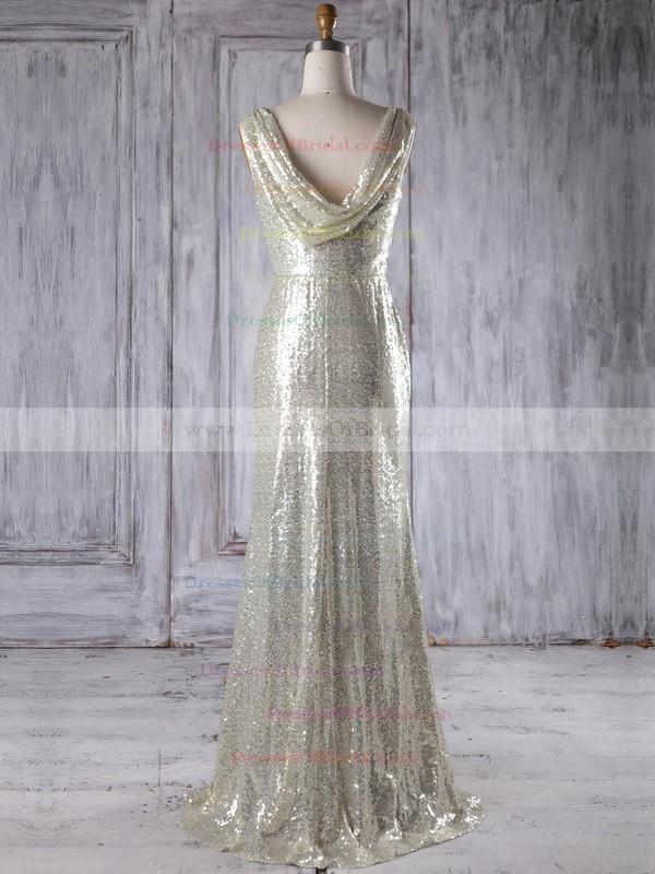 Sequined Sheath/Column Scoop Neck Floor-length with Ruffles Bridesmaid Dresses #DOB01013230