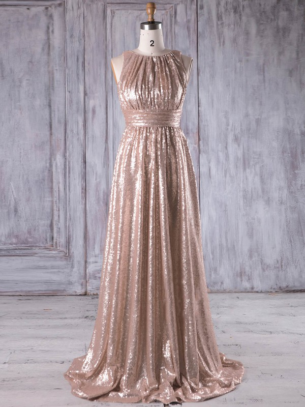 Sequined A-line Scoop Neck Sweep Train with Ruffles Bridesmaid Dresses #DOB01013231