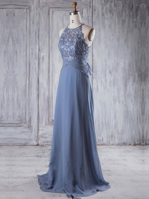 Lace Chiffon A-line Scoop Neck Sweep Train with Bo|Ruffles Bridesmaid Dresses #DOB01013232