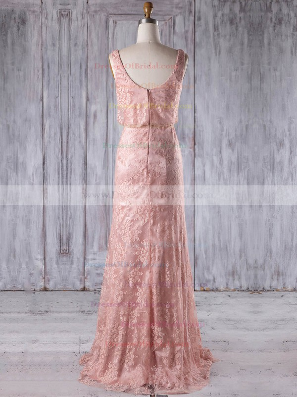 Lace Sheath/Column Scoop Neck Floor-length with Ruffles Bridesmaid Dresses #DOB01013233