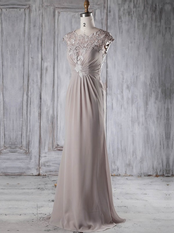 Chiffon Tulle Sheath/Column Scoop Neck Sweep Train with Appliques Lace Bridesmaid Dresses #DOB01013234