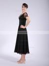V-neck A-line Tea-length Chiffon Beading Bridesmaid Dresses #DOB02042146