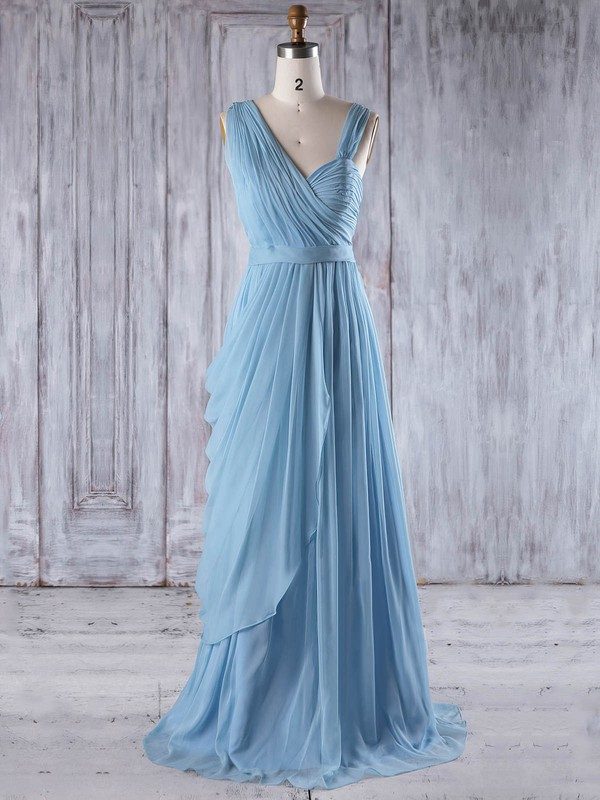 Chiffon A-line Sweetheart Floor-length with Ruffles Bridesmaid Dresses #DOB01013237