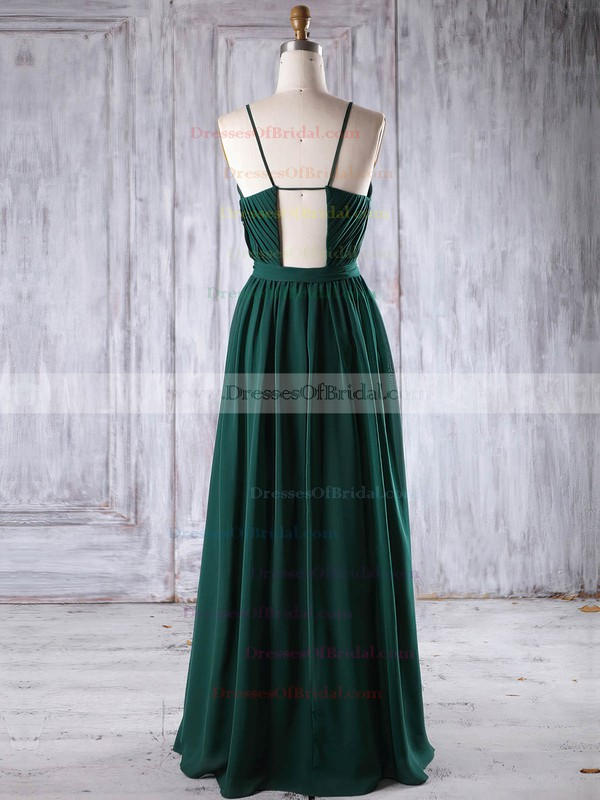 Chiffon A-line Scoop Neck Floor-length with Lace Bridesmaid Dresses #DOB01013238