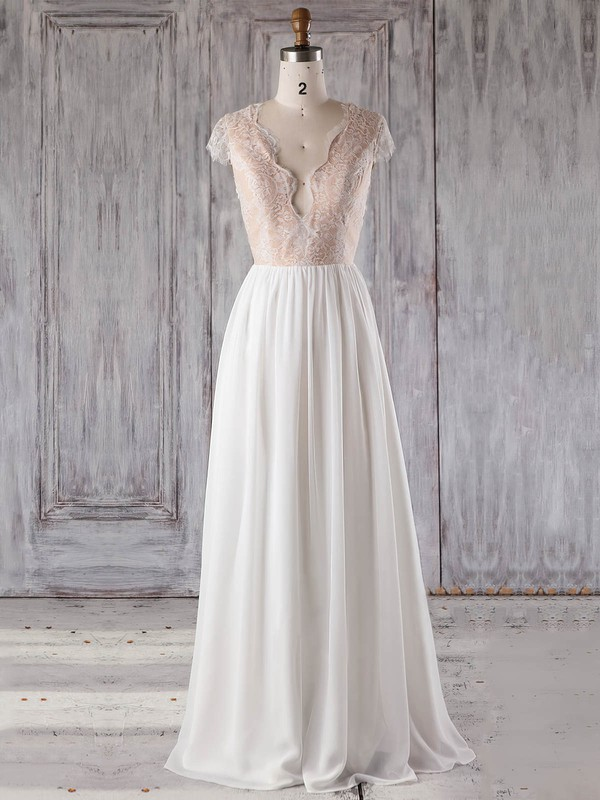 Chiffon Tulle A-line V-neck Floor-length with Appliques Lace Bridesmaid Dresses #DOB01013239