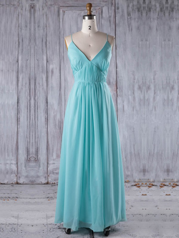 Chiffon A-line V-neck Floor-length with Ruffles Bridesmaid Dresses #DOB01013241