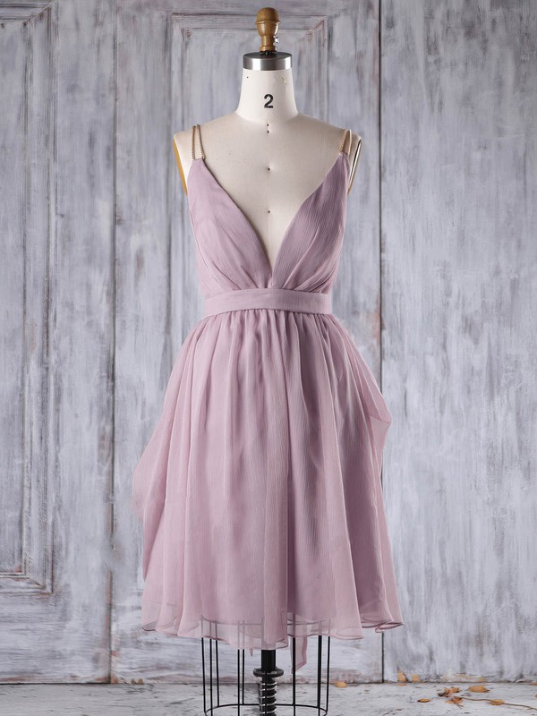 Chiffon A-line V-neck Short/Mini with Sashes / Ribbons Bridesmaid Dresses #DOB01013242