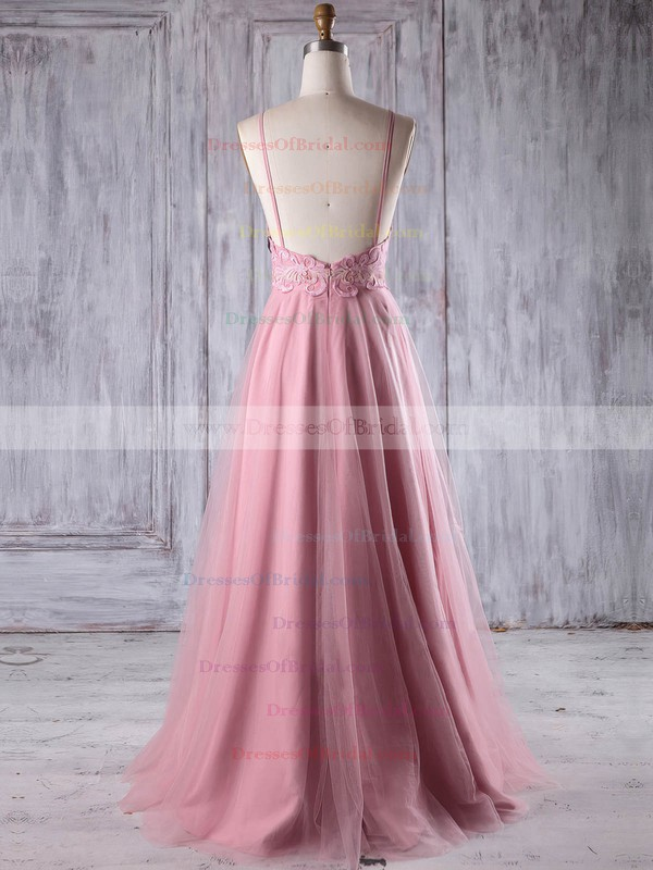 Tulle A-line Scoop Neck Floor-length with Appliques Lace Bridesmaid Dresses #DOB01013243