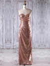 Sequined Sheath/Column Sweetheart Floor-length with Ruffles Bridesmaid Dresses #DOB01013244