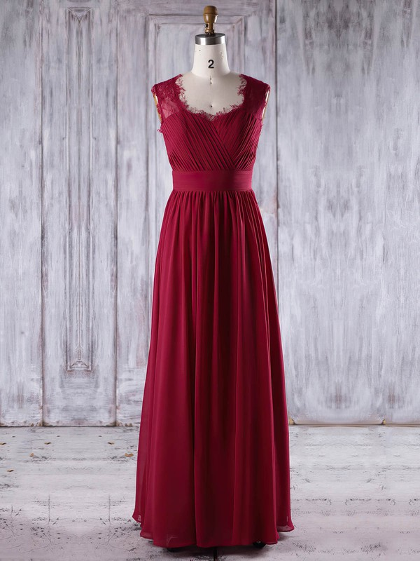 Lace Chiffon A-line Sweetheart Floor-length with Ruffles Bridesmaid Dresses #DOB01013245