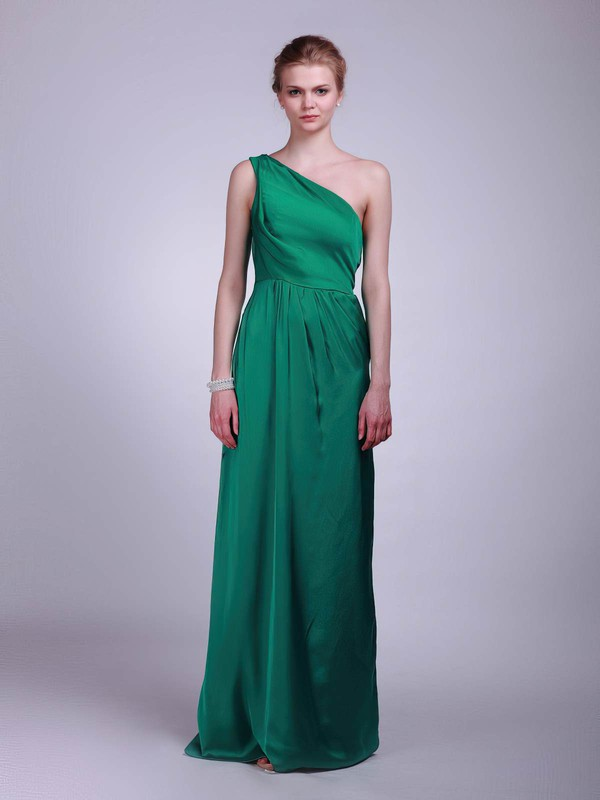 One Shoulder A-line Floor-length Satin Draping Bridesmaid Dresses #DOB02013609