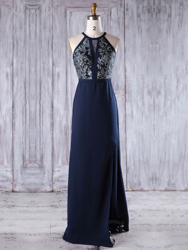 Chiffon A-line Scoop Neck Floor-length with Split Front Bridesmaid Dresses #DOB01013246