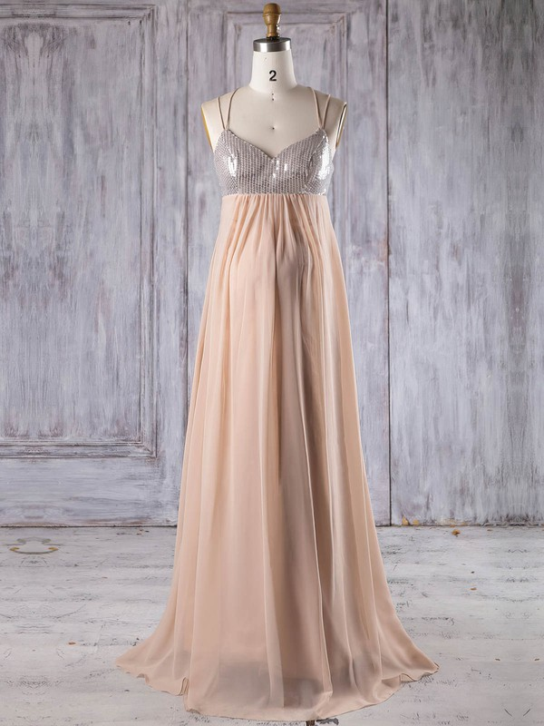 Chiffon Empire V-neck Floor-length with Sequins Bridesmaid Dresses #DOB01013247