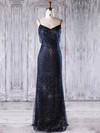 Tulle Sheath/Column V-neck Floor-length with Beading Bridesmaid Dresses #DOB01013248