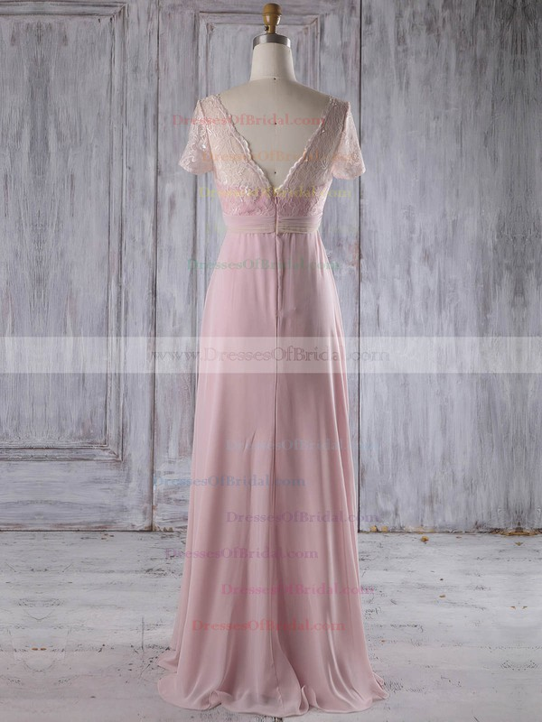 Lace Chiffon Empire V-neck Floor-length with Ruffles Bridesmaid Dresses #DOB01013249