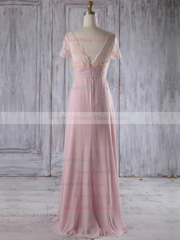 Lace Chiffon Empire V-neck Floor-length with Ruffles Bridesmaid Dresses #DOB01013249