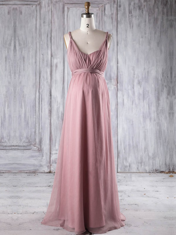 Chiffon Empire V-neck Floor-length with Ruffles Bridesmaid Dresses #DOB01013250