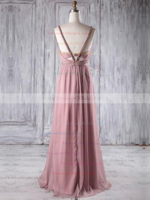 Chiffon Empire V-neck Floor-length with Ruffles Bridesmaid Dresses #DOB01013250