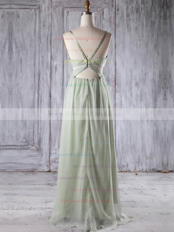 Chiffon Empire V-neck Asymmetrical with Ruffles Bridesmaid Dresses #DOB01013251