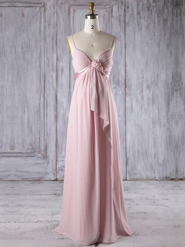 Chiffon Empire V-neck Floor-length with Flower(s) Bridesmaid Dresses #DOB01013253