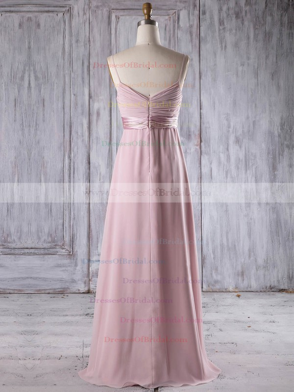 Chiffon Empire V-neck Floor-length with Flower(s) Bridesmaid Dresses #DOB01013253