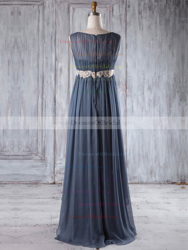 Chiffon Empire Scoop Neck Floor-length with Sashes / Ribbons Bridesmaid Dresses #DOB01013254