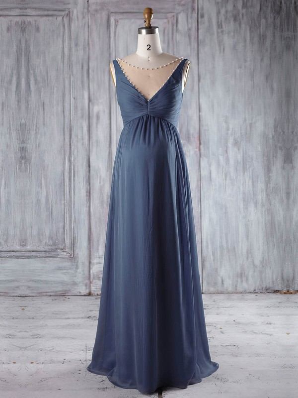 Chiffon Tulle Empire Scoop Neck Floor-length with Pearl Detailing Bridesmaid Dresses #DOB01013255