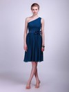 One Shoulder A-line Knee-length Chiffon Flower(s) Bridesmaid Dresses #DOB02013613