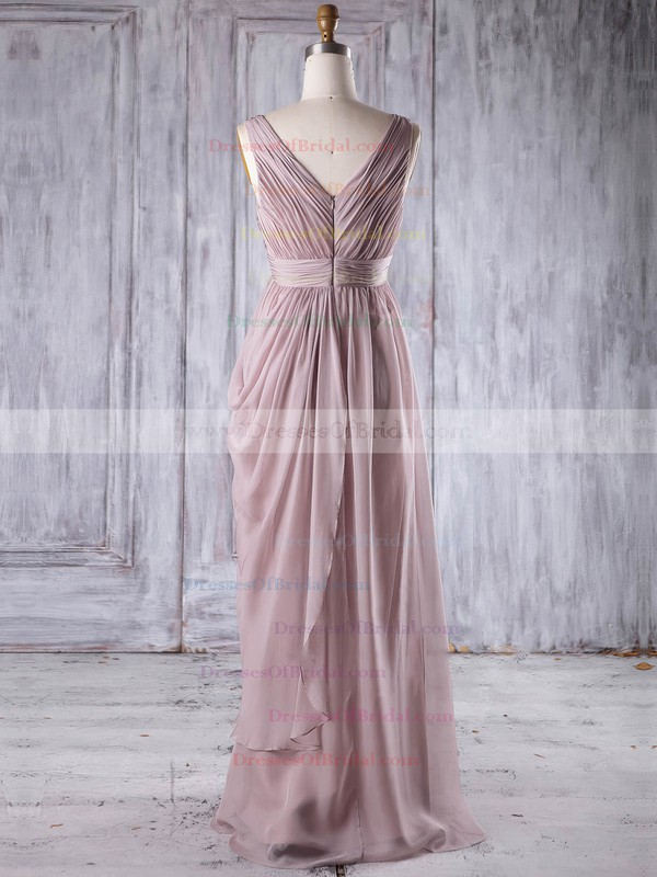 Chiffon Empire V-neck Floor-length with Sequins Bridesmaid Dresses #DOB01013256