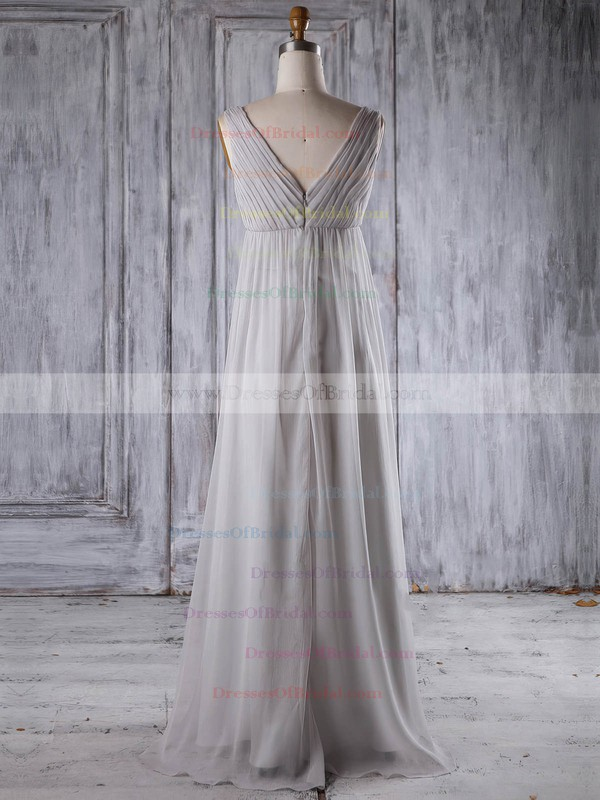 Chiffon Empire V-neck Floor-length with Appliques Lace Bridesmaid Dresses #DOB01013259