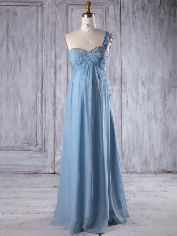 Chiffon Empire One Shoulder Floor-length with Ruffles Bridesmaid Dresses #DOB01013260