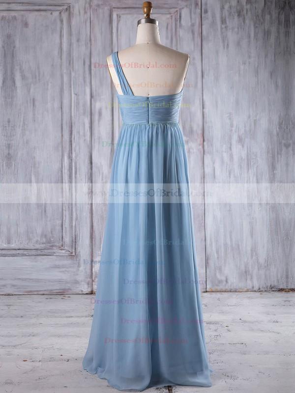Chiffon Empire One Shoulder Floor-length with Ruffles Bridesmaid Dresses #DOB01013260
