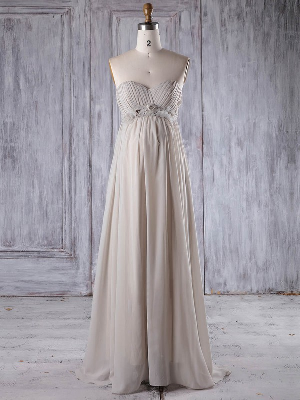 Chiffon Empire Sweetheart Floor-length with Flower(s) Bridesmaid Dresses #DOB01013261