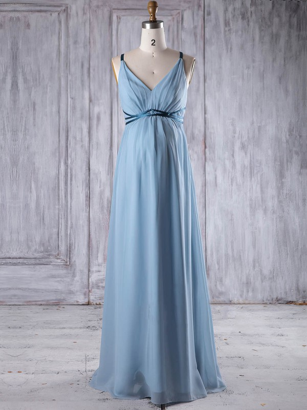 Chiffon Empire V-neck Floor-length with Sashes / Ribbons Bridesmaid Dresses #DOB01013262