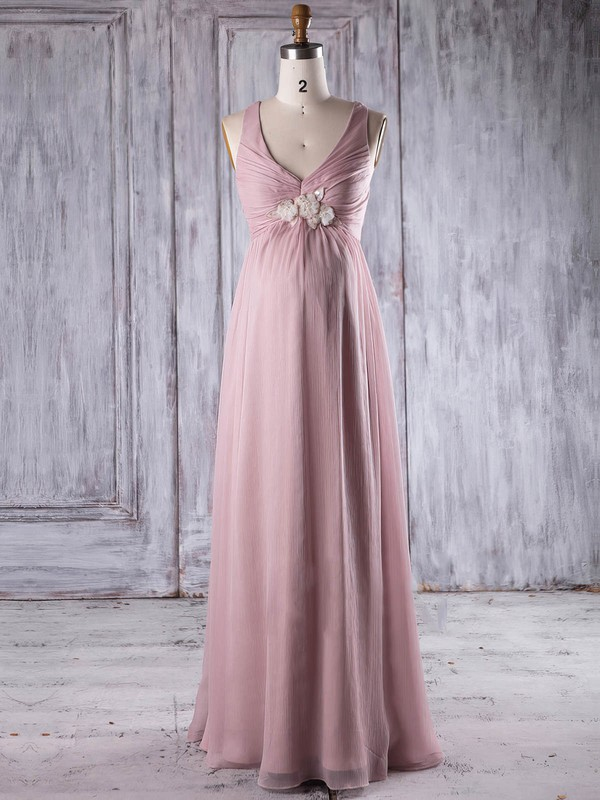 Chiffon Empire V-neck Floor-length with Flower(s) Bridesmaid Dresses #DOB01013263