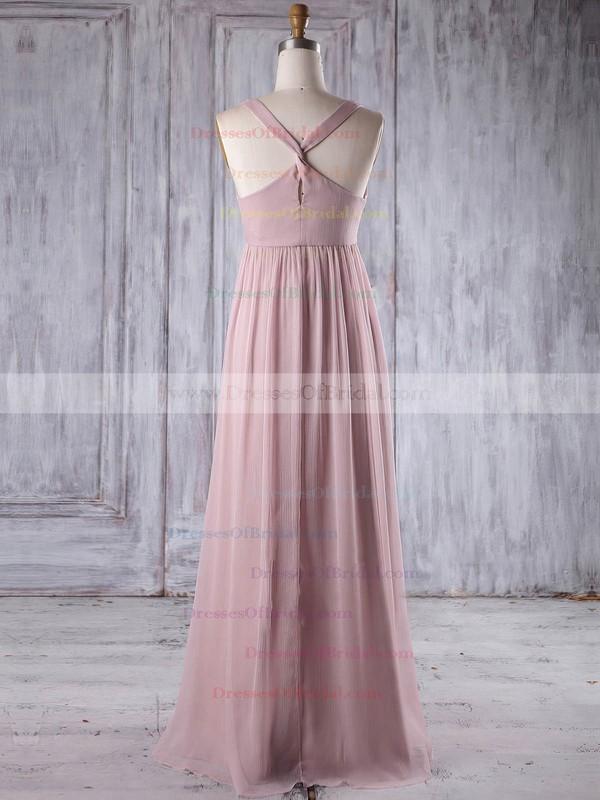 Chiffon Empire V-neck Floor-length with Flower(s) Bridesmaid Dresses #DOB01013263