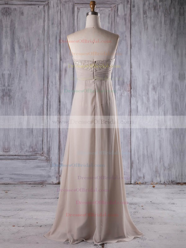 Chiffon Empire Strapless Floor-length with Lace Bridesmaid Dresses #DOB01013264